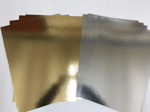 ( 10 ina pack ) A3 Gold & Silver Card Board Mirror - Xmas Metallic 1200micron 1.2mm-136