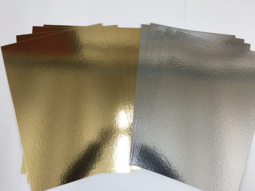 10 in a pack A4 Gold & Silver Card Board Mirror - Xmas Metallic 1200micron 1.2mm-138