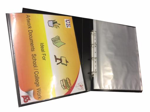 A3 deluxe portrait 4-D ring binder folder file art black presentation portfolio + 10 sleeves-0