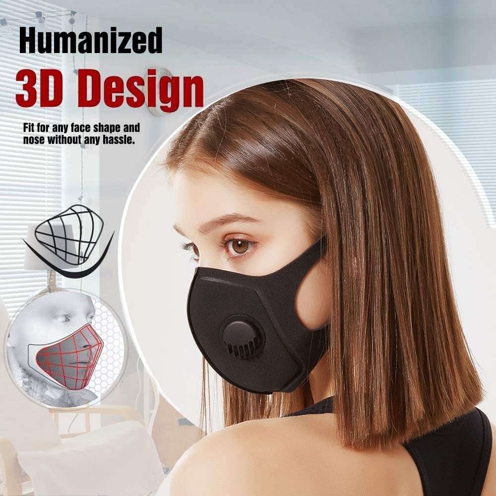 10 Face Mask with Breathing Valve, Skin-friendly Unisex Mouth Mask,  Reusable & Washable Masks for Running, Cycling, Outdoor Activities (Black)