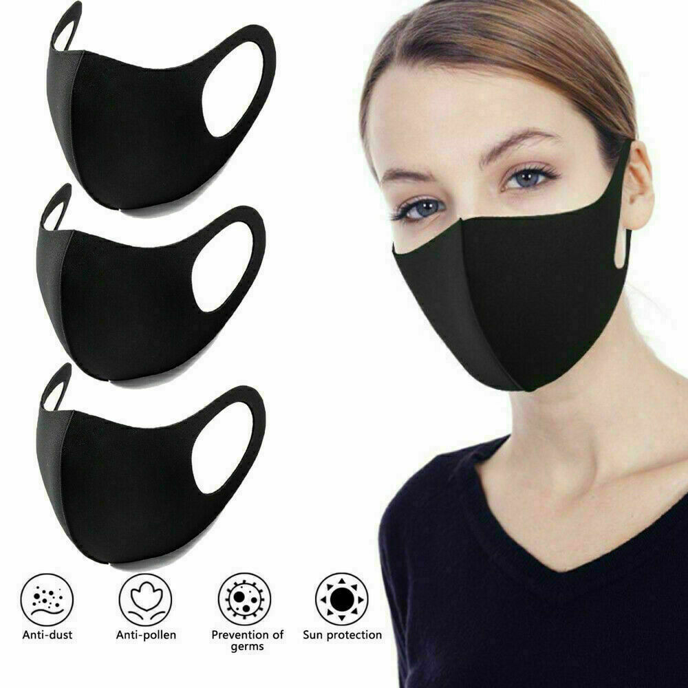 Protectafile 10 Pack Face Mask, Lycra or Spandex fabric, Mouth Mask, Reusable & Washable Masks for Running, Cycling, Skiing Motorbikes, Outdoor Activities(Black)